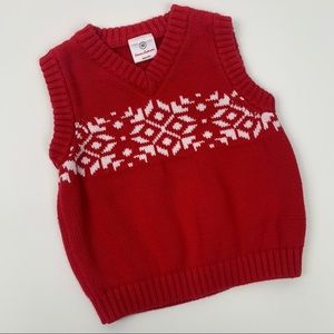 Hanna Andersson Red White Sweater Vest Size 80cm